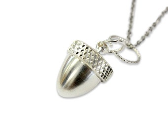 Acorn Capsule Necklace Sterling Silver Acorn Capsule Pendant Necklace Acorn Cremation Vial Jewelry 2010