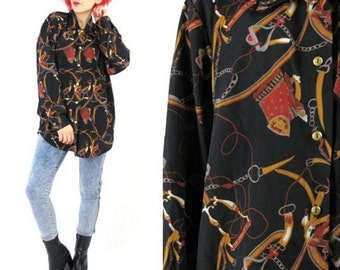 80s Equestrian Print Shirt Long Sleeve Blouse Baroque Black Brown Button Down Top Collared Preppy Shirt Rope Saddles Chains Print (L)