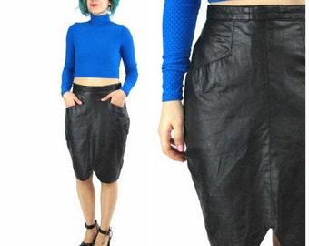 50% OFF SALE 80s Black Leather Skirt High Waisted Leather Skirt Tulip Hem Skirt Punk Rock Minimalist Pockets Vintage Leather Skirt (M)