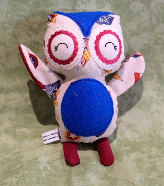 "Stuffed animal 8"" fabric owl patriotic american 4th of july Hoot baby toy machine embroidered one of a kind"