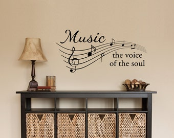 Music Decal - Music the voice of the soul Quote - Musical Notes Wall Decor - Music Staff Wall Sticker - Medium