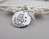 Remembrance Necklace, Angel Wing Necklace, Loss of Father, Dad Memorial Necklace, Memorial Necklace, Personalized, In Memory Necklace