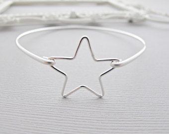 Silver Star Bracelet, Silver Star Jewelry, Star Bracelet, Custom Star Bracelet, Star Charm Bracelet, Silver Star Bangle Bracelet