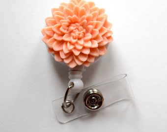 Peach Chrysanthemum Flower  - Name Badge Holder - Retractable ID Badge Reel  - Nurse ID Badge Clip - Flower Badge Holder - Teacher Badge