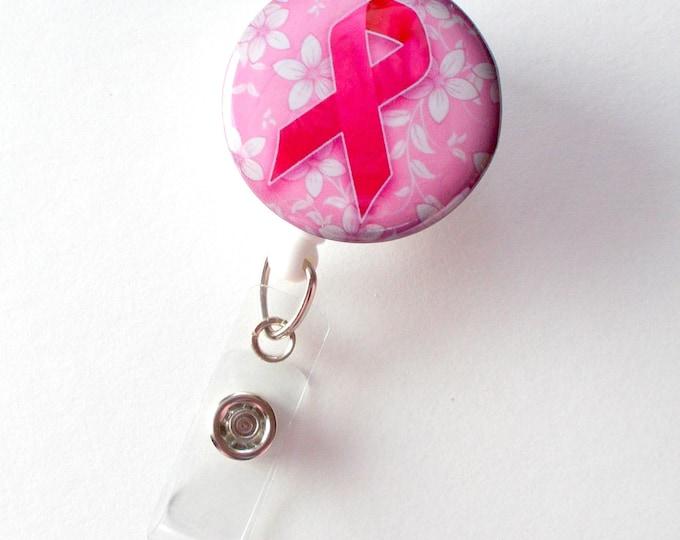 Breast Cancer Awareness Floral - ID Badge Holder - Lanyard - Breast Cancer Badge Reel - Nursing Badge - Teacher Badge Reel - Medical Badge