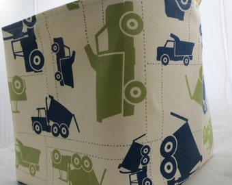 Fabric Organizer Storage Bin Container Basket  Premier Prints Toy Trucks Felix Blue/Natural 10 x 5.5 x 6 +