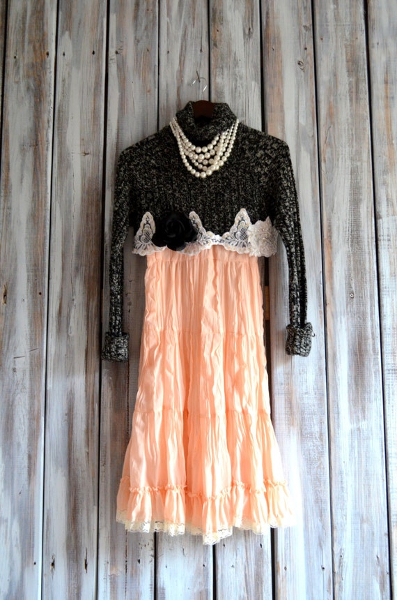 Bohemian Slip Dresses Rustic Country Chic Winter Ruffle