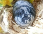 Bunny- Custom Pet Portrait , Memorial, ROCKS, 5-6 inch 3D stone, Painted Rocks- by Shelli Bowler