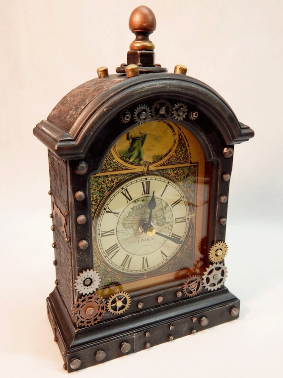 Steampunk assemblage art industrial style small mantel clock - Steampunk mantle clock ...