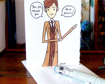 Doctor Who Thank You Card - Tenth Doctor - Allons-y