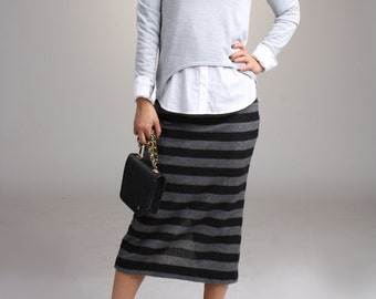 Striped  Wool Sweater Midi Skirt, Sweater Knit Pencil Skirt, Winter Skirt, Pull On Skirt, Straight Skirt / Handmade Skirt  - Black and Gray