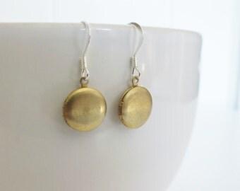 CLEARANCE Vintage Raw Brass Locket Earrings