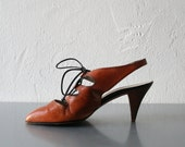Vintage Lace Up Shoes - Strappy Shoes in Black & Tan Vegan Leather US 7.5 8