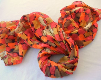 Orange Leaf Chiffon Scarf Shawl, Red Brown Squares Print, Overlaid Fall Leaf Designs, Hand-Rolled Hem, 70s 80s