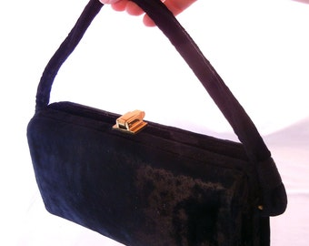 Black Crushed Velvet 40s Era Box Purse, Gold Closures, Frame Opening, Hard Sides, WWII Fashion