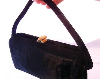 40s Era Box Purse, Black Crushed Velvet with Gold Closures, Frame Opening, Hard Sides, WWII Fashion
