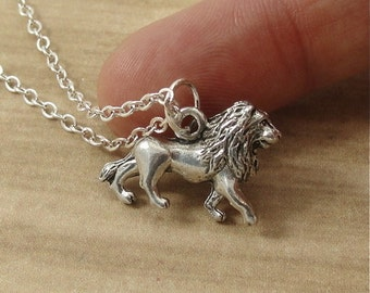 Lion Necklace, Silver Plated Lion Charm on a Silver Cable Chain