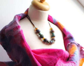 Psychedelic Peacock Necklace Druzy Agate Amber Turquoise Raw Stone Geode Titanium Metallic purple emerald green