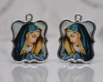 Virgin Mary Prints Set in Antiqued Silver Settings Charms Royal Blue
