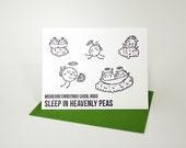 "Letterpress Christmas Card - Individual ""Misheard Christmas Carol - Heavenly Peas"""