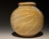 Sphere Vase, Autumn Splash, Ikebana Stoneware Pot with Diagonal Porcelain Drips