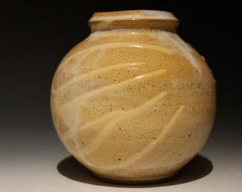Sphere Vase, Autumn Splash, Ikebana Stoneware Pot with Diagonal Porcelain Drips