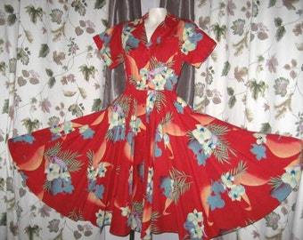 Dress Full Skirt - Rockabilly Swing - Bright Red Floral Print 70s Vintage