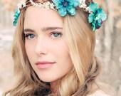 Delphinium hair crown, woodland flower, bridal hair flower, rustic wedding, teal flower hair crown, Delphinium flower crown