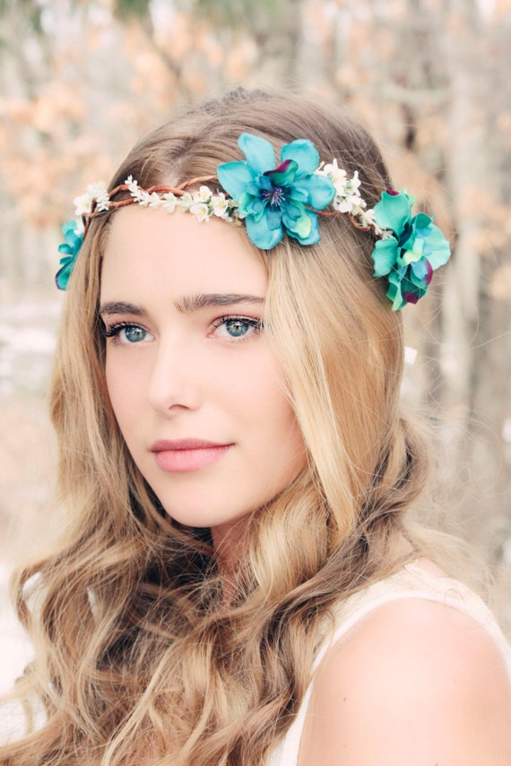 flower crown wedding hair delphinium hair crown woodland flower bridal hair flower 4156
