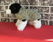 Dog sweater, med. dog sweater, large dog sweater, classic dog sweater, blue-green multicolor dog sweater