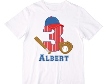 Personalized Baseball Birthday Shirt or Bodysuit - Personalized with Any Name and Age!