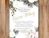 Antique Floral Bridal Shower or Wedding Invitation PDF Digital Download - choose font + colors!