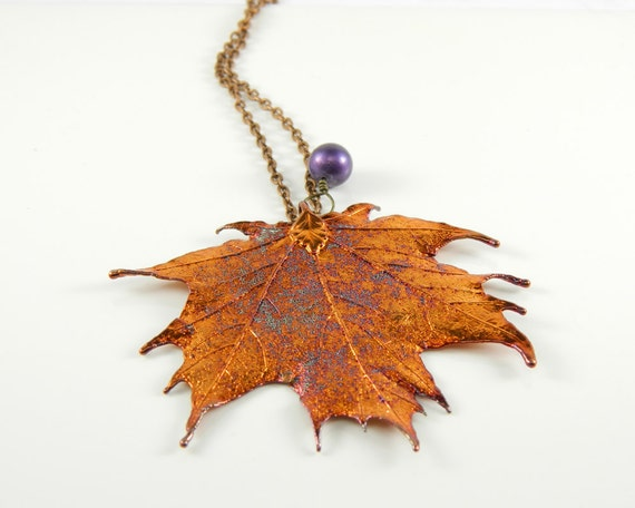 Necklace with Copper Plated Maple Leaf Pendant,  Copper Sugar Maple Leaf Pendant on 20 inch Chain