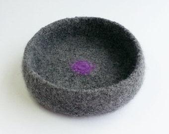 Wool Felt Bowl, Grey and Purple Felt Dot Bowl, Handmade Felt Bowl, Crochet Felt Bowl