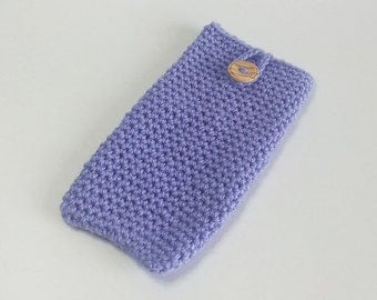 Phone Cosy in Lavender - Crochet Phone Cosy - Smart Phone Cosy - SALE