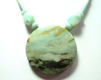 Amazonite Necklace Amazonite Seascape Scene Natural Gemstone Necklace with Sterling