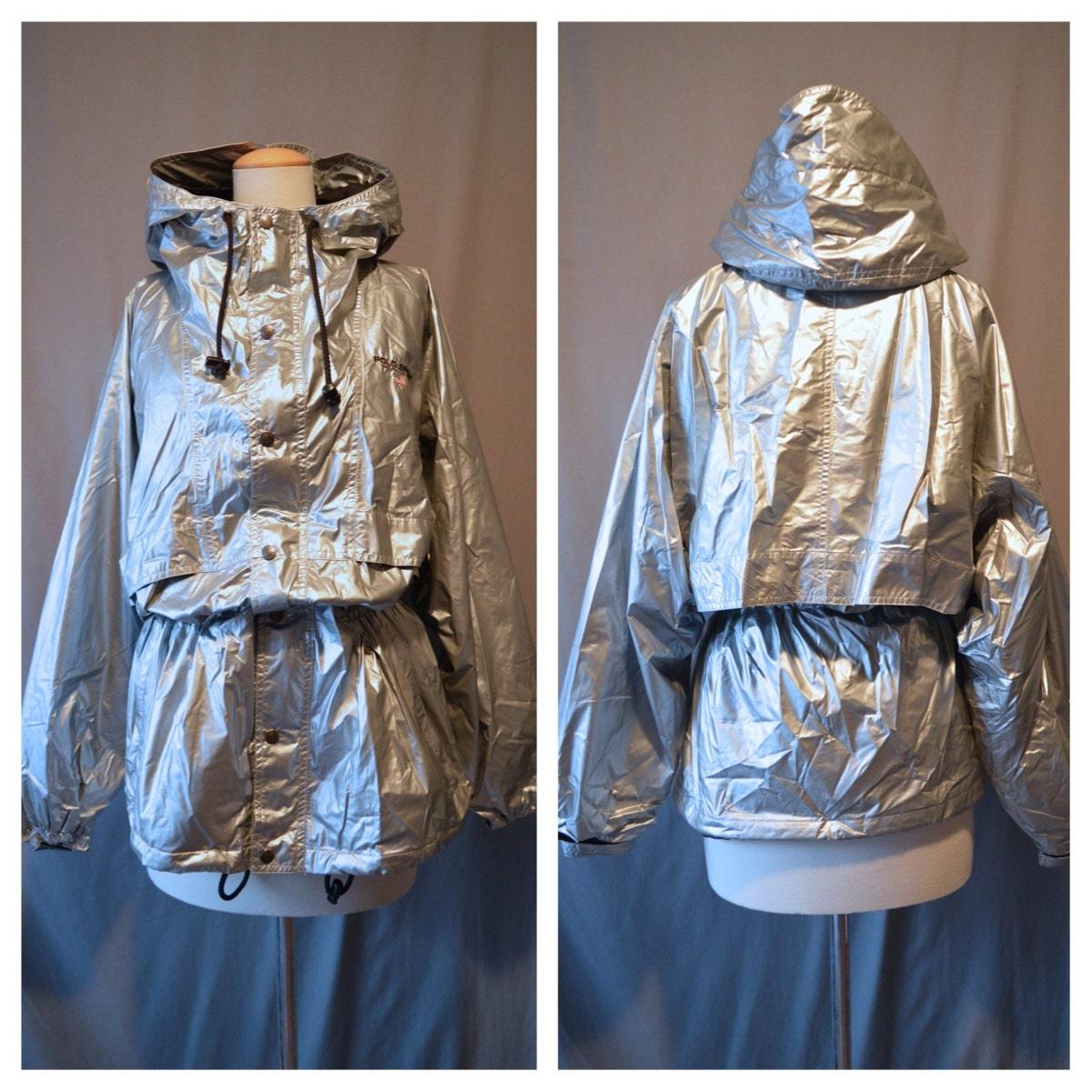 POLO SPORT 90s Metallic Silver Rain Jacket Anorak by boobooretro