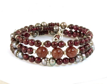 Garnet Gemstone Wrap Bracelet, Memory Wire Marsala Red and Gray Beaded Garnet Bracelet