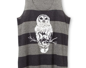 Womens Owl Top - Womens Owl Tank Top - Striped tank Top - xs, Small, Medium, Large, XL