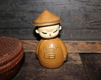 Asian Boy Bobble Head Bank Vintage Has Label 1950s 1960s Handcrafted Nodder