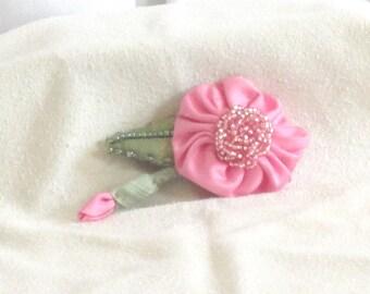 Pink Beaded Flower - Handmade Flower Brooch - Handmade from Pink  Silk  Hand Beaded Flower Pin