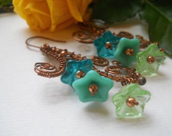 Woven Copper Flourish Earrings with flowers