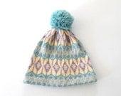 60s Wool Hat * Vintage Nordic Knit Cap * Pom Pon Ski Hat