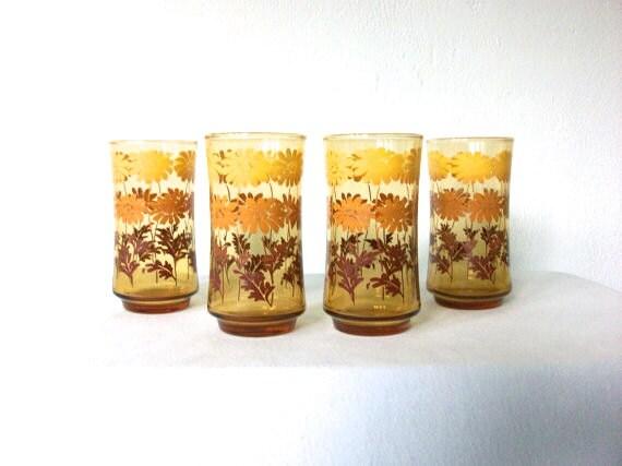 70s Floral Glasses * Vintage 70s Glass Set * 1970s Amber Daisy Glasses * Set of 4