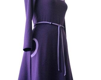 A line Dress, Dress with pockets, Jersey dress, Custom dress, Long sleeve dress, Winter dress, Spring dress, Womens Dress, Knee length dress
