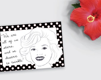 Printable Marilyn Monroe Quote Folded Notecard / Stationery