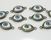 5 pcs.Zinc Antique Brass Eyes Connectors Charms Jewelry Decorations 15x30 mm. BC