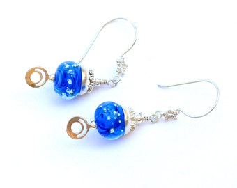 Sparkly Blue Glass Bead Earrings. Deep Sea Blue Lampwork Bead Earrings. Elegant Small Dangle Earrings. Glass Bead Jewelry.