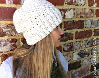 Ribbsta Slouchy Beanie Pattern for chunky yarn - Crochet Hat Pattern No.230 Digital Download