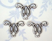 3 -Antiqued silver Art Nouveau brass stamping connectors  - SC255